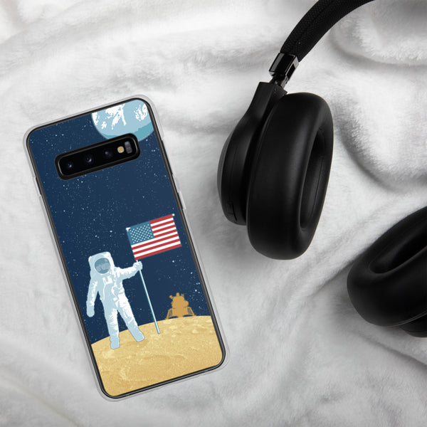 Moon Man astronaut case for Samsung Galaxy — Apollo 11 illustration by artist Brian Miller (Star Wars, The X-Files, Doctor Who) available exclusively from Oktopolis.
