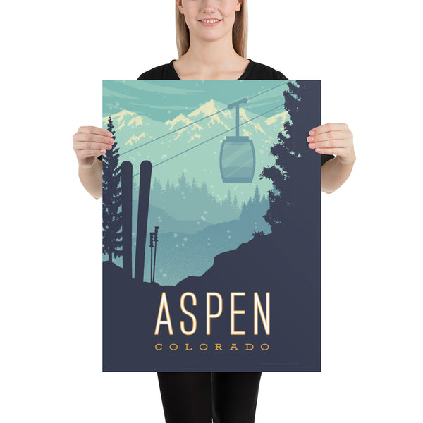 Medium Size - BEST VALUE: This Museum-quality art print of Aspen, Colorado is illustrated by artist: Brian Miller (Star Wars, The X-Files, Doctor Who) and available exclusively from Oktopolis.