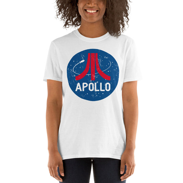 Retro style Apollo t-shirt design by artist Brian Miller, women's t-shirt available exclusively from Oktopolis.com