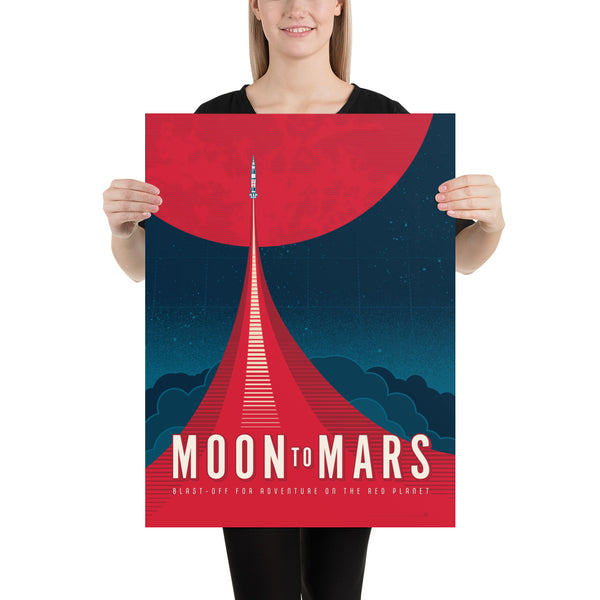 Medium Size: This Moon to Mars artwork is one in a series of collectable SPACE EXPLORATION posters by illustrator Brian Miller available exclusively from Oktopolis. This Museum-quality art print is illustrated by artist: Brian Miller (Star Wars, The X-Files, Doctor Who) and produced on heavy matte, acid-free, archival paper.
