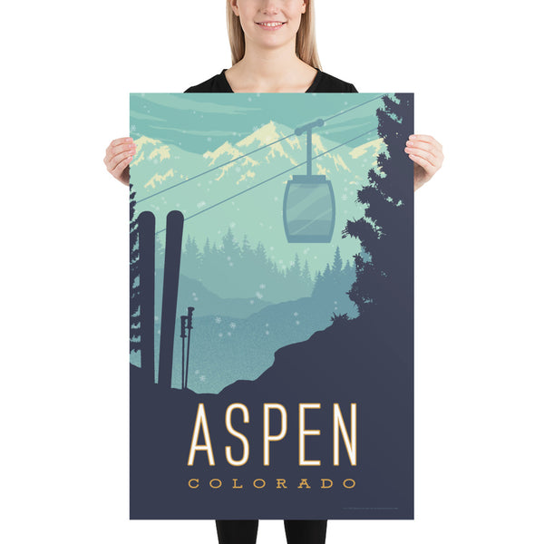 Large Size: This Museum-quality art print of Aspen, Colorado is illustrated by artist: Brian Miller (Star Wars, The X-Files, Doctor Who) and available exclusively from Oktopolis.
