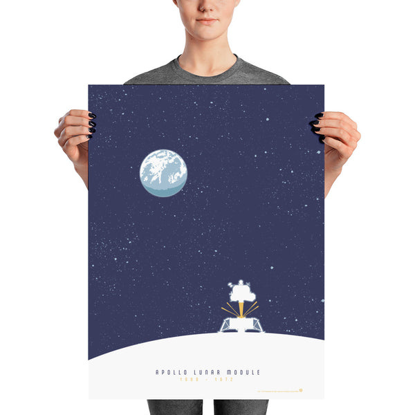 This Apollo Lunar Module artwork is one in a series of collectable SPACE EXPLORATION posters by illustrator Brian Miller available exclusively from Oktopolis.