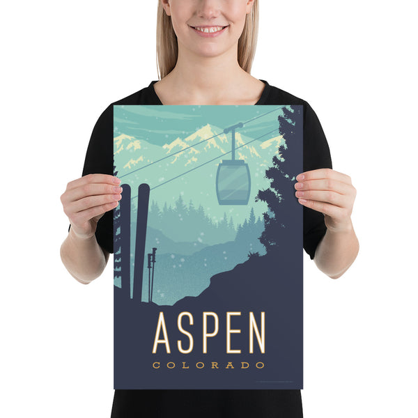 Small Size: This Museum-quality art print of Aspen, Colorado is illustrated by artist: Brian Miller (Star Wars, The X-Files, Doctor Who) and available exclusively from Oktopolis.