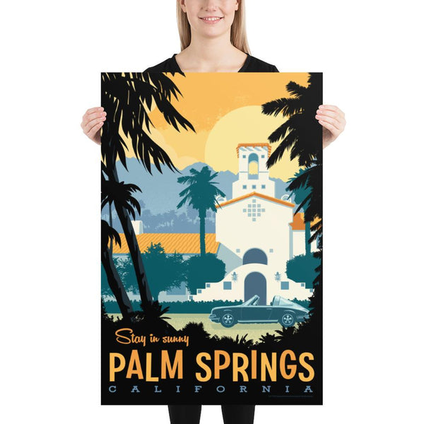 Large Size: This Museum-quality art print of Palm Springs is illustrated by artist: Brian Miller (Star Wars, The X-Files, Doctor Who) and produced on heavy matte, acid-free, archival paper.