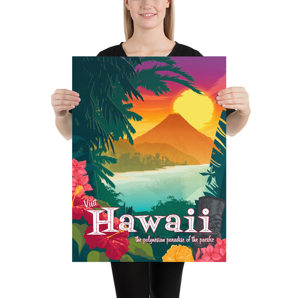 Medium size - This Museum-quality art print of a vintage travel poster style artwork of Hawaii is illustrated by artist: Brian Miller (Star Wars, The X-Files, Doctor Who) and available exclusively from Oktopolis.