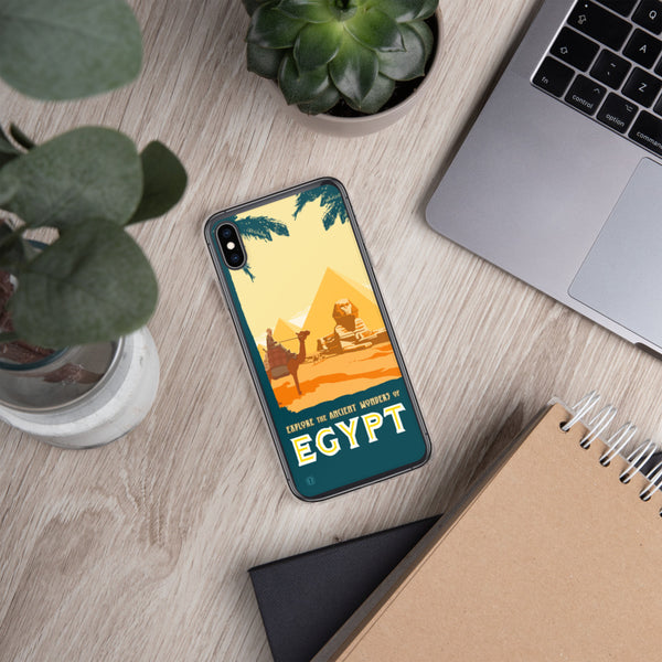 Phone case featuring Egyptian pyramids illustration by artist Brian Miller (Star Wars, The X-Files, Doctor Who) available exclusively from Oktopolis.