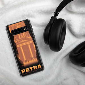 This sleek case for Samsung Galaxy protects your phone from scratches, dust, oil, & dirt. It has a solid back & flexible sides that make it easy to take on and off, & precisely aligned ports. Lost City of Petra illustration by artist Brian Miller (Star Wars, X-Files, Doctor Who) available exclusively from Oktopolis.