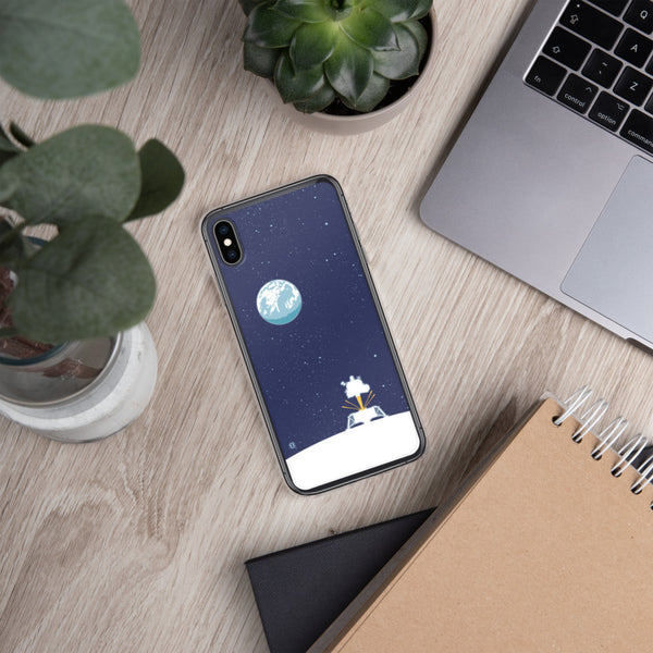 Phone case featuring Apollo Lunar Module illustration by artist Brian Miller (Star Wars, The X-Files, Doctor Who) available exclusively from Oktopolis.