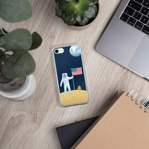 Moon Man astronaut case for iPhone — Apollo 11 illustration by artist Brian Miller (Star Wars, The X-Files, Doctor Who) available exclusively from Oktopolis.
