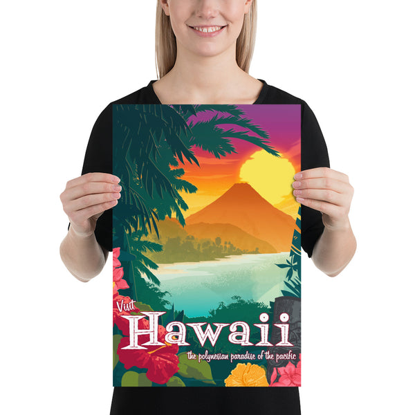 small size - This Museum-quality art print of a vintage travel poster style artwork of Hawaii is illustrated by artist: Brian Miller (Star Wars, The X-Files, Doctor Who) and available exclusively from Oktopolis.