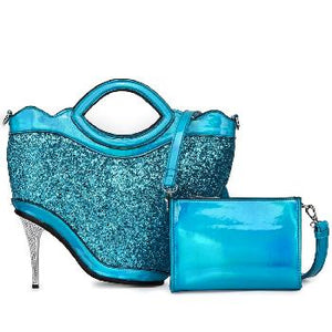 Turquoise Leather High Hill Bag