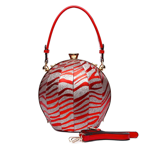 Zebra and Red Leather Bag