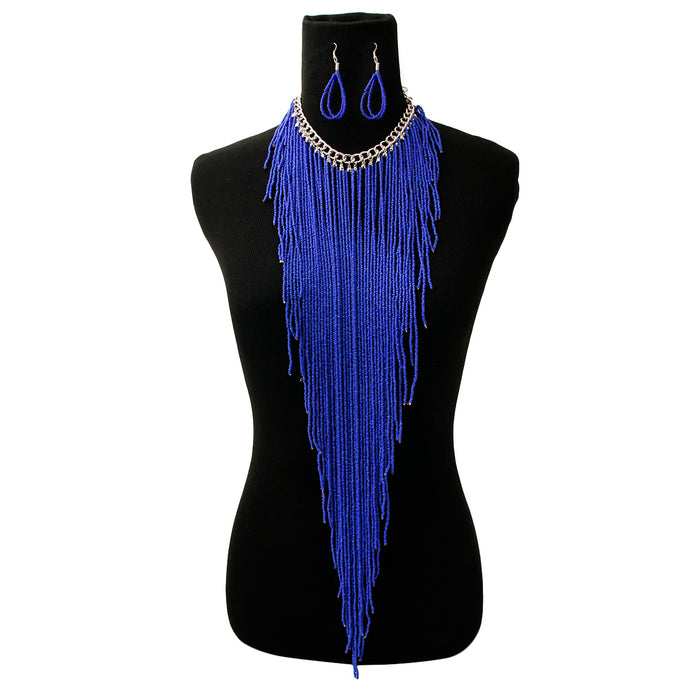 FRINGE CHOKER SET - BLUE