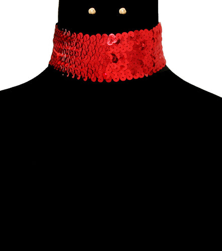SEQUIN CHOKER SET - RED