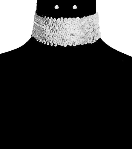 SEQUIN CHOKER SET - SILVER