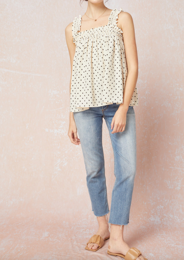 Brianna Smocked  Polka Dot Top