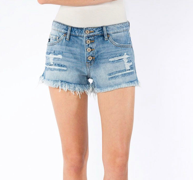 Light Wash Boyfriend Denim Shorts