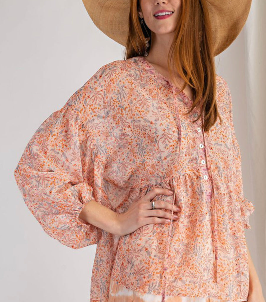Floral Chiffon Button Up Top