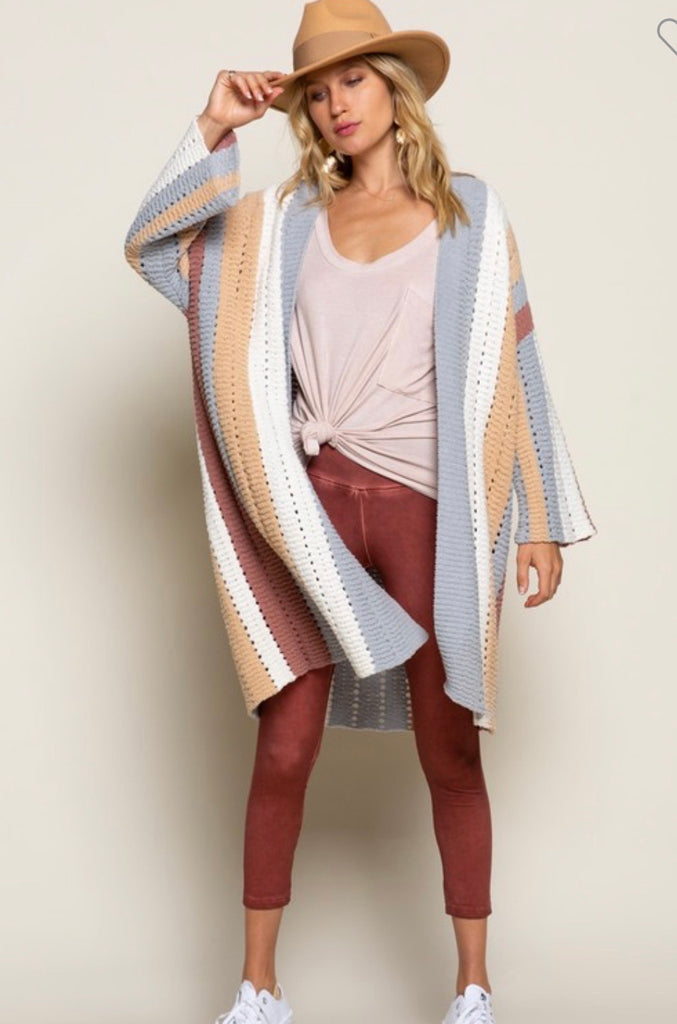 Dove Grey Color Block Cardigan