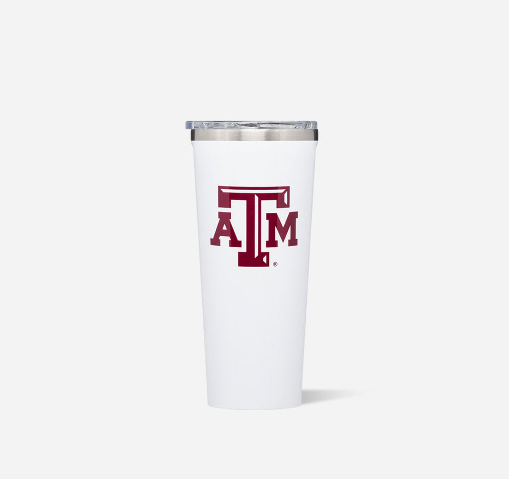 Corkcicle 24oz Tumbler- Gloss White- Texas A&M Logo