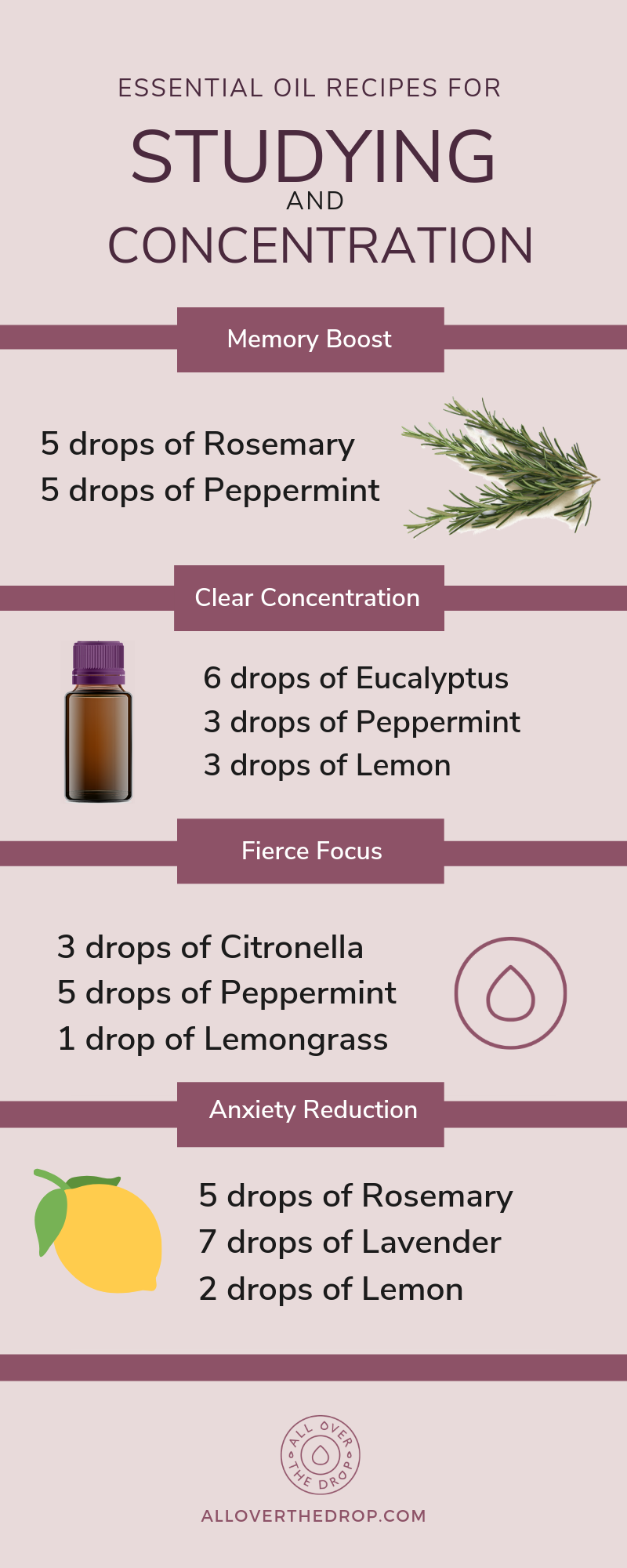 essential oils for studying and concentration infographic