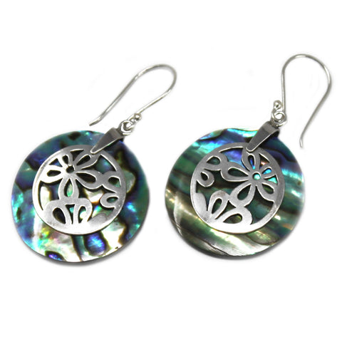 abalone silver earrings with flower design