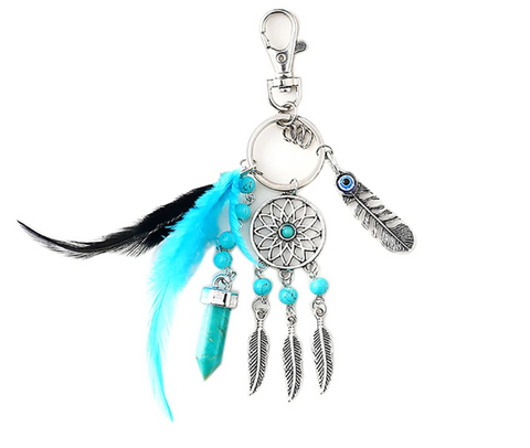 turquoise dream catcher key chain all over the drop