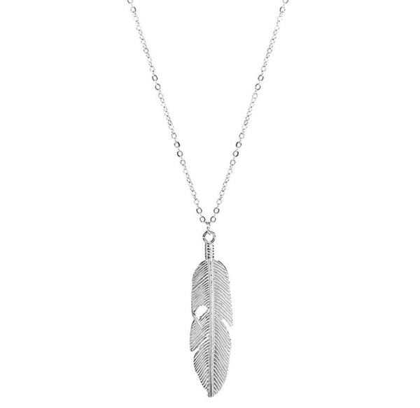 Silver Feather Pendant Necklace - All Over The Drop