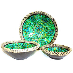 Set of Three Rattan Mosaic Bowls - Golden Green - All Over The Drop