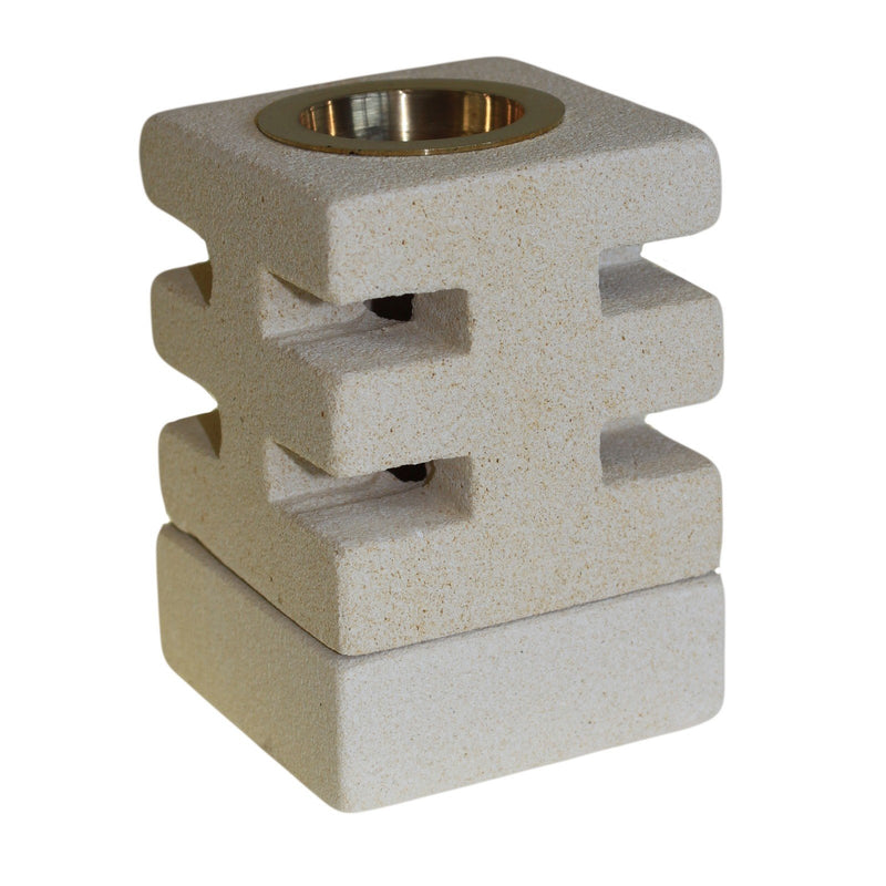 Sandstone Oil burner with Abstract design - All Over The Drop