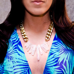 Iridescent Rocked Up Crystal Quartz Necklace - All Over The Drop