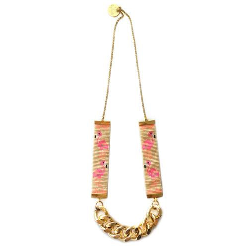 Flamingo Priestess II Bead Loom Necklace - All Over The Drop