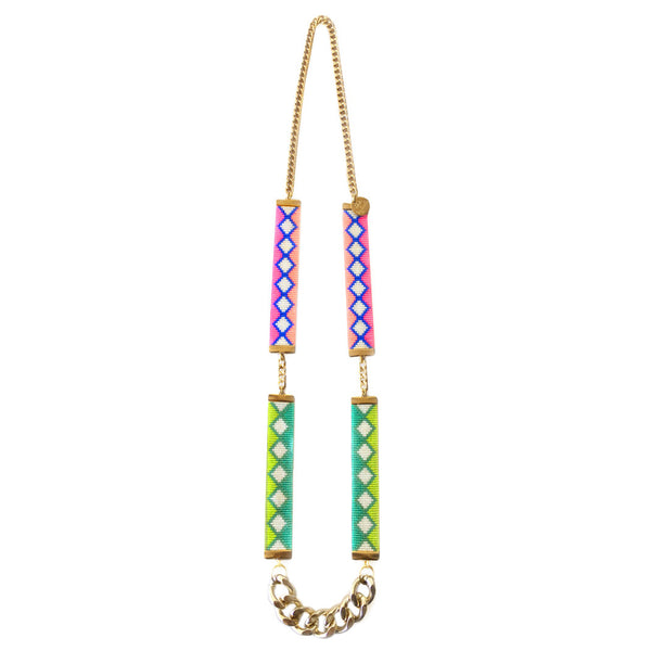 Neon Pink and Lime Ibiza Bead Loom Necklace - All Over The Drop