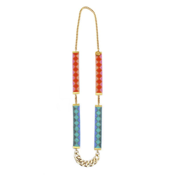 Pink and Turquoise Rio Bead Loom Necklace - All Over The Drop