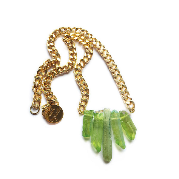 Green Rocked Up Mini Crystal Quartz Necklace - All Over The Drop