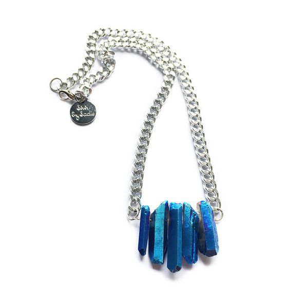 Sapphire Rocked Up Mini Crystal Quartz Necklace - All Over The Drop