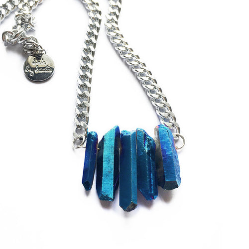 sapphire necklace on silver chain