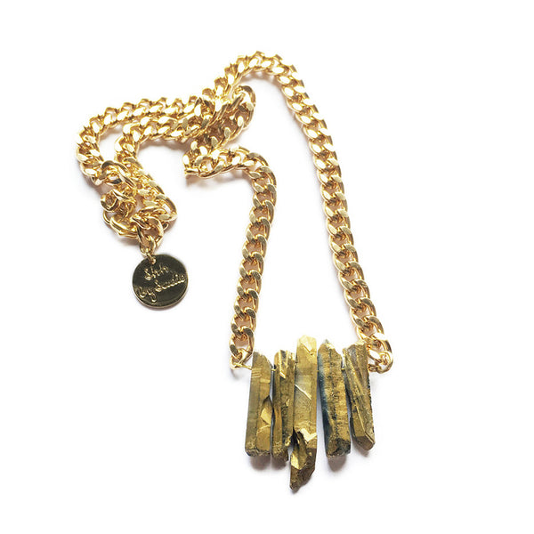Rocked up gold crystal quartz necklace