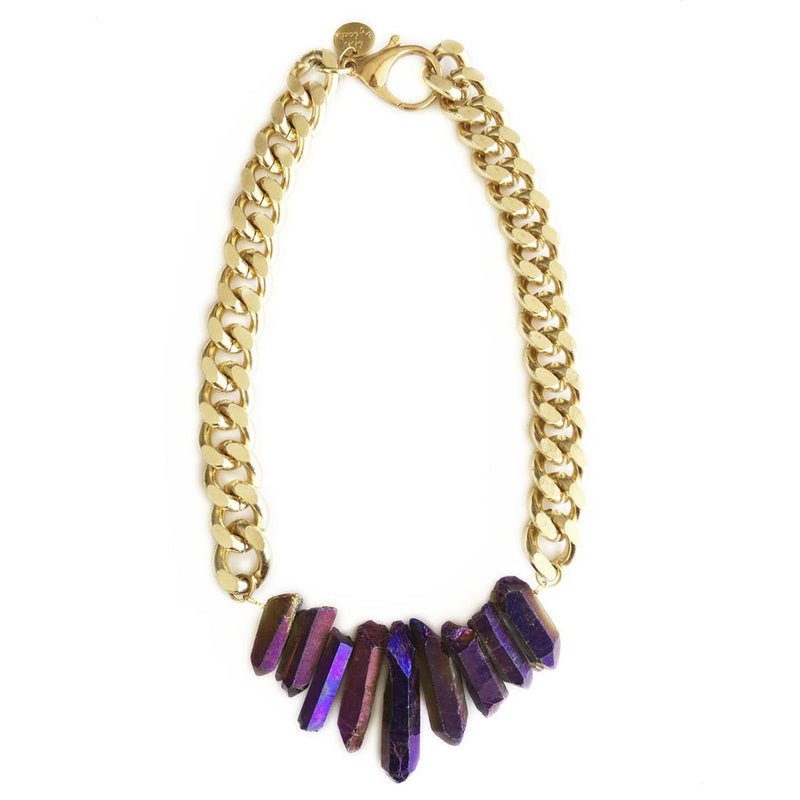 Purple Rocked Up Crystal Quartz Necklace - All Over The Drop