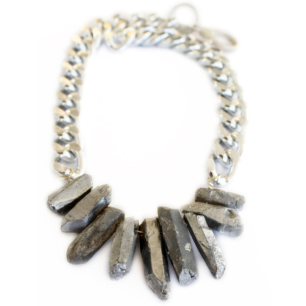 Silver Rocked Up Crystal Quartz Necklace