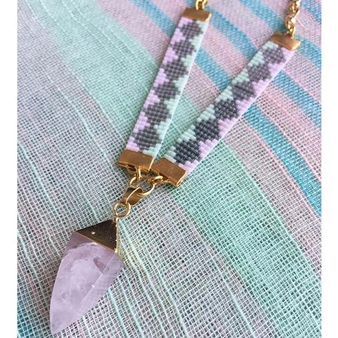 Pink Soleil St Tropez Bead Loom Healing Necklace - All Over The Drop