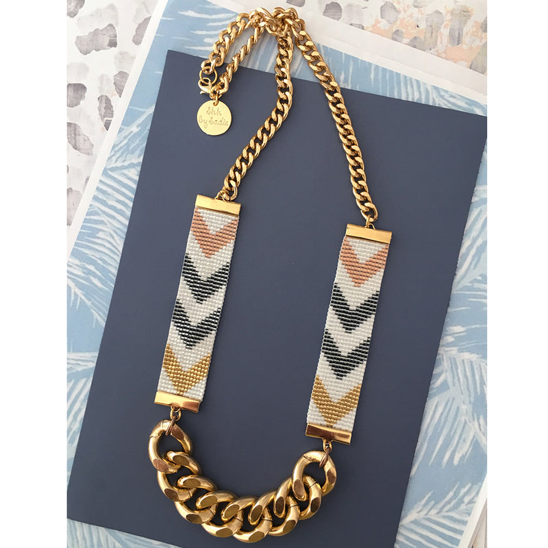 Chevron D'or Short Bead Loom Necklace - All Over The Drop