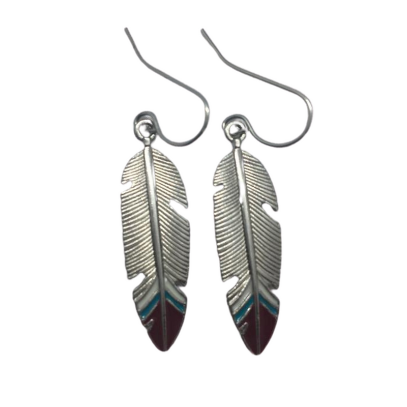 feather earrings with red tips