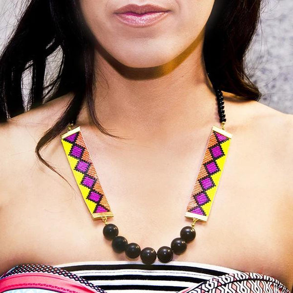 Orange Miami Nights Bead Loom Healing Necklace - All Over The Drop