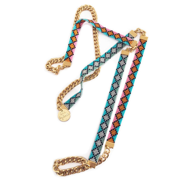 Miami Nights Skinny Bead Loom Necklace - All Over The Drop