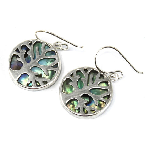silver tree of lifer earrings with abalone shell
