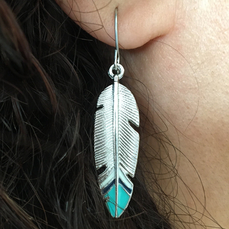 buy feather drop earrings uk