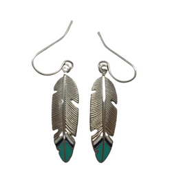 silver feather earrings with turquoise tips