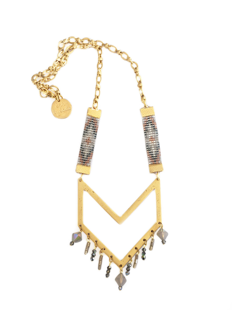 Gold Twilight Bead Loom Necklace - All Over The Drop