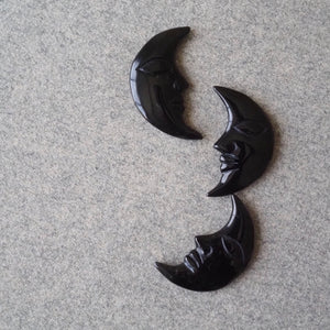 Obsidian Small Moon Carving